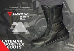 The #Dainese Latemar Gore-Tex Boots are top-of-the-line when it comes to touring boots. The full grain cowhide construction backed with a ultra breathable Gore-Tex liner and CE Cat II certified protectors gives you protection and comfort no matter what the road has in store. Have built-in flexible joints to make life a bit easier when you need to walk around and stretch your legs. Motorcycle Riding Boots, Flexible Joint, Gore Tex Boots, Touring, Walking, Things To Come, Construction, Legs, Cat