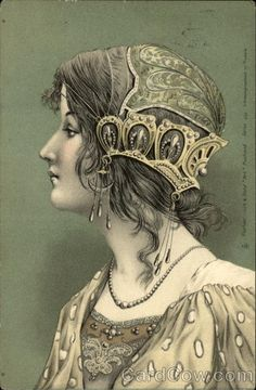 A Beautiful Young Woman with a Jeweled Headdress Girls