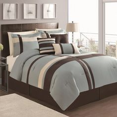 Latitude Run Eaton 7 Piece Comforter Set Color: Blue/Chocolate, Size: Queen Queen Comforter Sets, Bedding Sets, Quilting, One Bed, Bed Styling, Luxury Bedding, Bedroom Decor, Bedroom Ideas, Master Bedroom