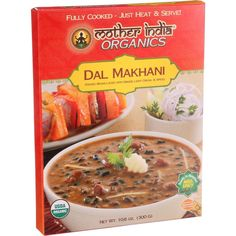 Mother India Organic Dal Makhani - 10.6 oz - Case of 6 - Mother India Organic Dal Makhani is one of Punjabs most characteristic dishes, a protein packed blend of black gram (urad beans) , Bengal gram (a type of chickpea) , and red kidney beans. Traditionally cooked for hours over a slow charcoal fire, it develops a rich silky texture which is then delicately tempered and seasoned with light cream and exotic spices. Garnish with chopped coriander leaves and serve with fragrant basmati rice…