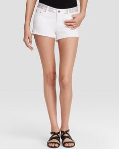 $130, White Denim Shorts: Maje White Denim Shorts Bloomingdales. Sold by Bloomingdale's. Click for more info: https://lookastic.com/women/shop_items/233380/redirect