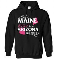 A MAINE-ARIZONA girl Pink02 - #shower gift #creative gift. GET YOURS => https://www.sunfrog.com/States/A-MAINE-2DARIZONA-girl-Pink02-Black-Hoodie.html?68278