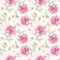 Check out Watercolor pattern with peony flower by Astromonkey on Creative Market