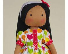 Susie con pelle marrone - mano fatto rag doll - di AnneCorner