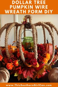 this beautiful Fall flower arrangement using Dollar Tree pumpkin wire wreat., Make this beautiful Fall flower arrangement using Dollar Tree pumpkin wire wreat., Make this beautiful Fall flower arrangement using Dollar Tree pumpkin wire wreat. Dollar Tree Pumpkins, Dollar Tree Fall, Dollar Tree Decor, Dollar Tree Crafts, Dollar Tree Halloween, Fall Flower Arrangements, Floral Arrangement, Easy Fall Wreaths, Wire Wreath Forms