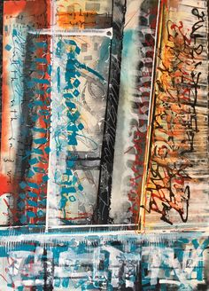 Water Under The Bridge Abstract calligraphy Textual Art. Lots of Acrylic ink plus lots of water and overwritten with white gouache #textualart #abstractcalligraphy