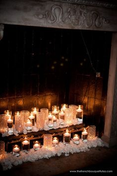 Floating Candles and Petals and Crystal Vases in Dresser Mansion Fireplace - Destiny Photography - The French Bouquet