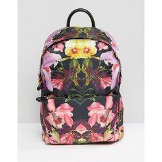 Ted Baker Floral Print Backpack (600 SAR) ❤ liked on Polyvore featuring bags, backpacks, black, rucksack bags, ted baker, knapsack bag, floral bags and floral backpack