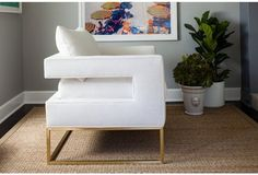 Bevin Accent Chair, Gold/White Linen