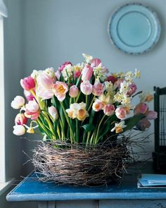 Tulips in a wooden nest