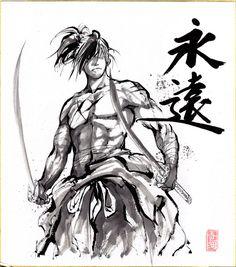 Samurai Sumie on Shikishi paper by MyCKs on DeviantArt Tattoo Samurai, Afro Samurai, Samurai Warrior, Guerrero Tattoo, Art Sketches, Art Drawings, Poses Manga, Character Art, Character Design