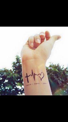 faith love hope heartbeat tattoo inknart by inknart on etsy tattoo quotes, tatoo, 16 Tattoo, Herz Tattoo, Get A Tattoo, Tattoo Quotes, Body Art Tattoos, New Tattoos, Girl Tattoos, Tatoos, Faith Tattoos