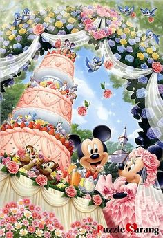 Tenyo Disney Minnie and Mickey Church Wedding 300 pcs. Gifts Online Today - sell Japan jigsaw puzzle, classic and out of print jigsaw puzzles to worldwide. Disney All Characters Collection - Japanese jigsaw puzzle from Japan. Mickey And Minnie Wedding, Mickey And Minnie Love, Mickey Mouse And Friends, Mickey Minnie Mouse, Wedding Disney, Minnie Mouse Pictures, Disney Pictures, Disney Dream, Disney Magic