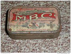 Rare ancienne Boite en tôle de pastilles de Menthol Borate Cocaine MBC