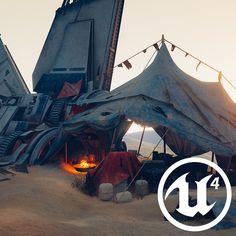 ArtStation - [UE4] Desert campsite, Sander Vander Meiren https://www.artstation.com/artwork/GJ6r1 #SubstancePainter #SubstanceDesigner #UE4
