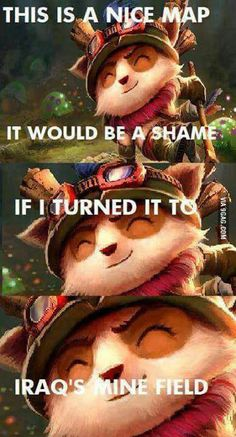 Teemo turning League of Legends map into a poison shroom minefield. LoL, League of Legends, Poison Shrooms, Ultimate Ability Lol League Of Legends, League Of Legends Boards, Champions League Of Legends, League Of Legends Characters, Funny Gaming Memes, Funny Games, Liga Legend, Top League, League Memes