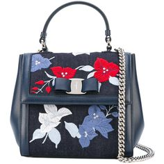 Salvatore Ferragamo floral embroidered denim Vara bag ($1,222) ❤ liked on Polyvore featuring bags, handbags, shoulder bags, blue, bow purse, chain strap handbag, blue purse, blue handbags and top handle handbags