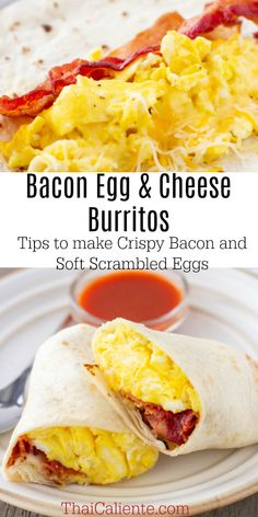 Bacon Egg and Cheese Burritos are an easy Breakfast the whole family will love. Customize them with your favorite salsa, hot sauce or avocado. # breakfast burritos Bacon Egg and Cheese Burritos Egg Recipes, Mexican Food Recipes, Healthy Recipes, Bacon Recipes, Bacon Breakfast, Breakfast Recipes, Breakfast Ideas, Healthy Breakfast Wraps, Freezer Breakfast Burritos