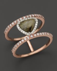 Meira T 14K Rose Gold Triangular Labradorite Two-Tiered Ring with Diamonds