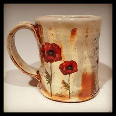 Wood fired poppy mug with red flowers by Justin Rothshank on Etsy, $65.00