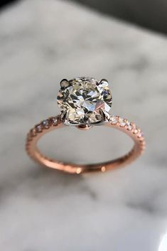 Rose Gold Engagement Rings That Melt Your Heart ❤ See more: http://www.weddingforward.com/rose-gold-engagement-rings/ #weddingforward #bride #bridal #wedding
