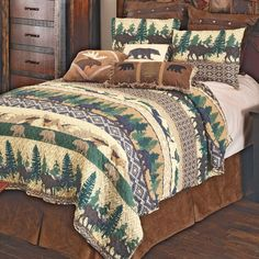 Quilt Bedding, Bedding Sets, White Moose, Quilt Sets Queen, Black Forest Decor, Rustic Bedding, Blanket Cover, Western Decor, Bedding Collections