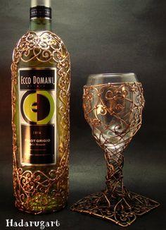 Sticla cu vin acoperita in cupru by hadarugart