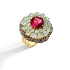 Brumani Baobab Collection includes cabochon cuts of aquamarine, ruby, rose tourmaline, brown diamonds and yellow gold