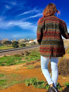 Vintage Aztec wool blazer jacket mens womens by Harris / Wallace harris/wallace size medium earth tone colors orange stitching pockets rad! by VELVETMETALVINTAGE on Etsy