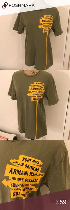 Armani Jeans Army Green T-shirt AJ Army green T-shirt with road sign. Great condition! No flaws Armani Jeans Tops Tees - Short Sleeve