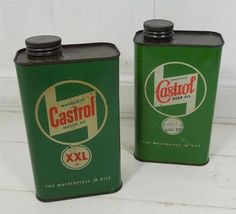 2 x Vintage ~ ~ Wakefield Castrol Oil Cans / Tins Castrol Oil, Oil Image, Can Dispenser, Old Gas Pumps, Old Signs, Wakefield, Vintage Tools, The Masterpiece, Garage Ideas