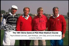 On this day, In 1991 Payne Stewart wins the 1991 Skins Game over Nicklaus, Strange,