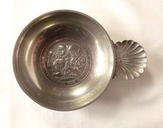 Vintage pewter tastevin trinket dish with a wife beating her husband with a broom by MaisonMaudie, $16.00