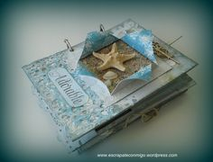 "A ""sea moments"" mini album by Monica Mini Scrapbook Albums, Diy Scrapbook, Diy Gifts Videos, Mini Albums Scrap, Handmade Books, Cardmaking, Projects To Try, Paper Crafts, Scrapbooks"