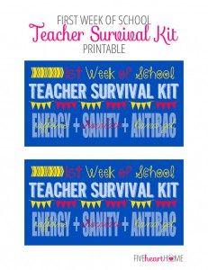First Week of School Teacher Survival Kit FREE PRINTABLE ~ Energy (caffeine) + Sanity (chocolate) + Antibacterial Hand Gel | {Five Heart Hom...