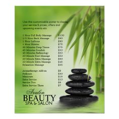 Spa Massage Poster With Stacked Stones and Bamboo