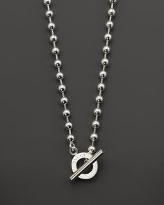 """Gucci Boule Sterling Silver Circle Necklace, 17"""""""