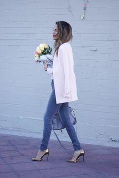 Rose quartz blazer and High waisted jeans Found at Marshalls