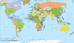 World Maps With Countries Names And Cities