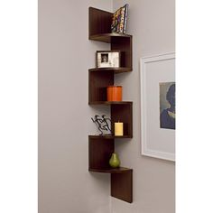 Zig Zag 7.75 in W x 7.75 in. D Floating Laminate Corner Wall Decorative Shelf in Walnut Finish, Browns/Tans