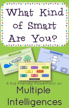 $-Multiple Intelligence Interactive PowerPoint for 3rd and 4th grade. Great way to motivate students who feel they just aren't smart.