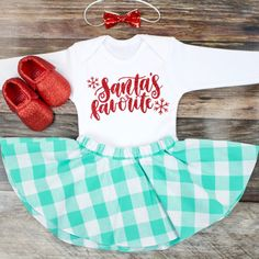Girl's Christmas Skirt Outfit | 'Santa Favorite' Top with Mint Gingham Twirl Skirt | Complete Baby or Toddler Christmas Set