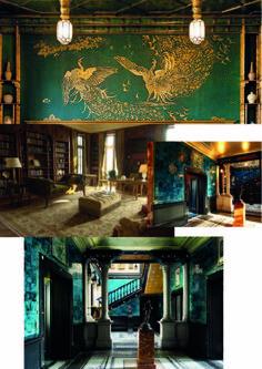 Victoriaanse interieurs - heldere kleuren (combinatie groen, blauw, goud), rondingen en hoeken.