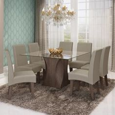 Conjunto Sala de Jantar Mesa Andréia 8 Cadeiras Beatriz Cimol Marrocos/Caramelo - Móveis para Salas de Jantar | Magazine Luiza