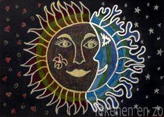 Tekenen en zo: Warme zon, koele maan