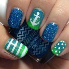 Newsie Nail Novice: Nautical Skittle Nails   Via Womenstime.net
