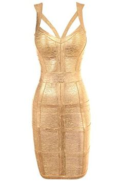 Dear-lover Women's Sexy Metallic Empire Waist Backless Bandage Dress: Amazon.co.uk: Clothing