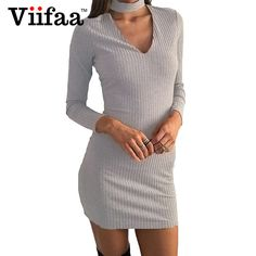 Viifaa Autumn Winter Knitted Dress Women Long Sleeve Sexy V Neck Party Bodycon Short Vestidos Sweater Dresses #Affiliate