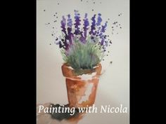 You can paint this 'Pot of Lavender', in watercolours, in 10 minutes - YouTube