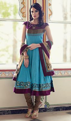 G3 Fashions Cyan Wine Cotton Wedding Wear Designer Salwar Suit  Product Code : G3-LSA104315 Price : INR RS 5592